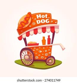 Vector flat illustration of Hot Dog cart.