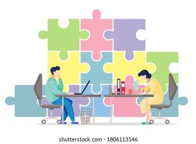 Vector flat illustration with huge puzzle. Businesspeople working in office sitting at table. Man look at laptop screen, woman looking through documents. Cartoon characters solve one business problem