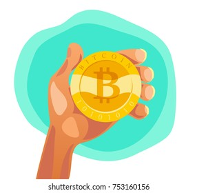 Vector flat illustration of human hand holding golgen coin with bitcoin emblem isolated on white background. Cryptocurrency sign, digital money symbol. Bitcoin mining.