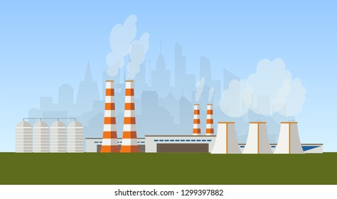 vector flat illustration of industrial zone, factory or power plant not far from the city
