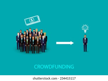 vector flat illustration of an infographic crowdfunding concept. a group of business men wearing suits and ties.