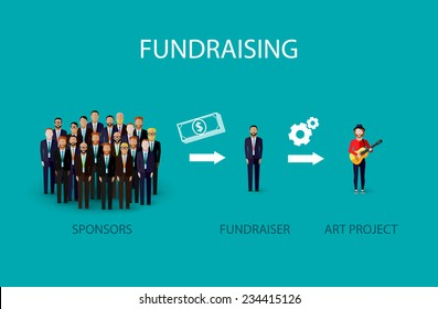 vector flat illustration of an infographic fundraising concept. a group of business men giving money for non profit art project