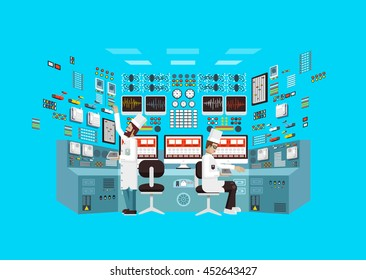 Vector flat illustration interior science base, nuclear power plant, technical equipment, scientists, workers NPP, research, development, experiments, data processing, technological progress