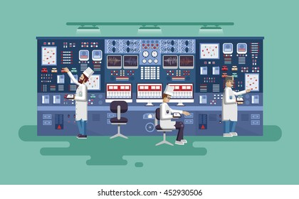 Vector flat illustration interior science base, nuclear power plant.