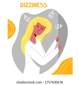 Vector flat illustration isolated young woman holding on to wall. She's dizzy. Vestibular, neurological disorders, instability when standing concept.