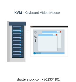 Vector Flat Illustration of a KVM or Keyboard Video Mouse Management Software. Includes Server Rack and Computer Screen