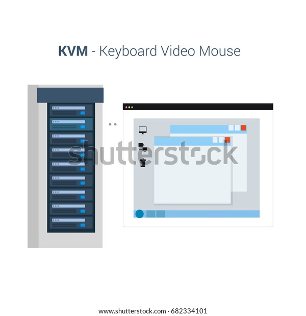 Vector Flat Illustration Kvm Keyboard Video Stock Vector Royalty Free 682334101