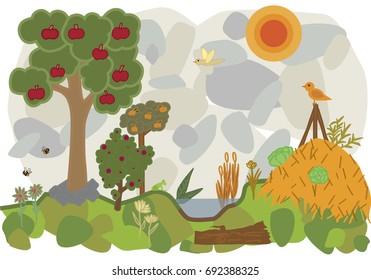 vector flat illustration of a land of permaculture with trees and bees and vegetables and birds and frog and flowers and fruits