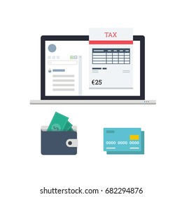 Vector Flat Illustration of a Laptop with Opened Software which Calculates Tax During Payment Process. Includes Credit Card and Wallet Icons