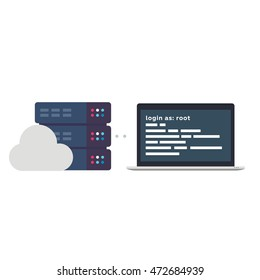 Vector Flat Illustration of a Laptop with a SSH Access to a Server