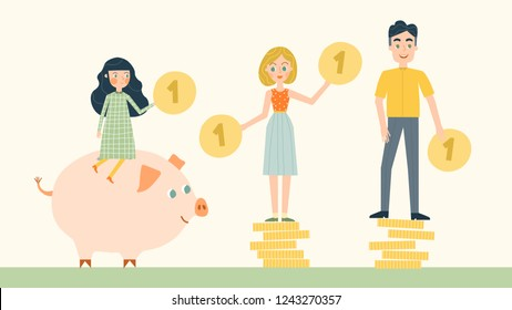 Vector flat illustration, a large piggy bank in the form of a piglet on a light background, financial services, family save or accumulating money. Stack of coins