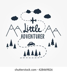 Vector flat illustration Little ADVENTURER lettering with car, plane, mountains and forest tree. Baby pattern.