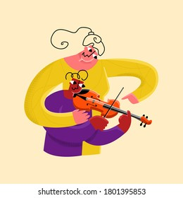 Vector flat illustration little girl playing violin, she is helped by teacher. Concept children s music schools, art, development.
