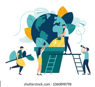 Vector flat illustration, little men prepare for the day of the Earth, save the planet, save energy, the hour of the Earth, the concept of the Earth day