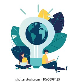 Vector flat illustration, little people prepare for Earth day, save energy, Earth hour, correspond with different countries, communicate through networks