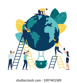Vector flat illustration, little people are preparing for the day of the environment, save the planet, a balloon in the form of a planet
