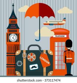 vector flat illustration of London