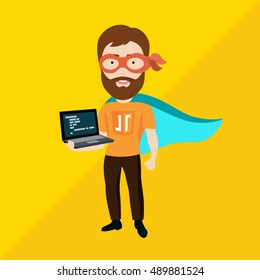 Vector Flat Illustration of a Man With Laptop, Cape and Mask, Depicting His Advanced Skills in Programming