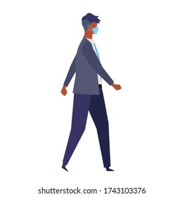 Vector flat illustration of man wearing a surgical mask. The illustration for the topic of coronavirus, flu and cold. Vector illustration in flat style.