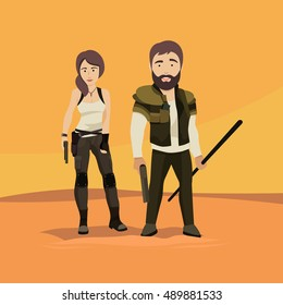 Vector Flat Illustration of a man and a Woman as Post Apocalyptic Survivors