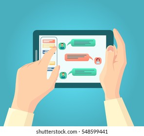 Vector flat illustration of Man`s hands with tablet computer with speech bubbles in chat. Chat talk or online communication concept