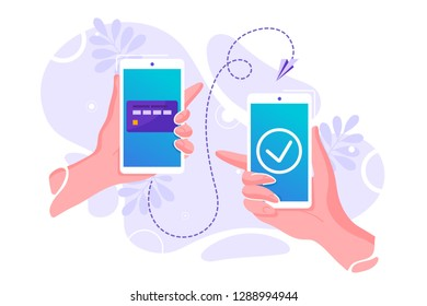 Vector flat illustration for mobile money transfer with human hands holding smartphone with credit card on its screen. Safe and easy payment concept. Perfect for mobile app banner, landing page design