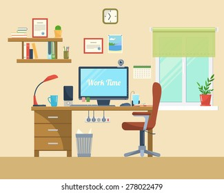 Vector flat illustration  of modern office, workspace,workplace with computer  in room.