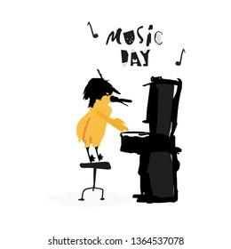 Vector flat illustration. Music festival animal. Bird with piano.