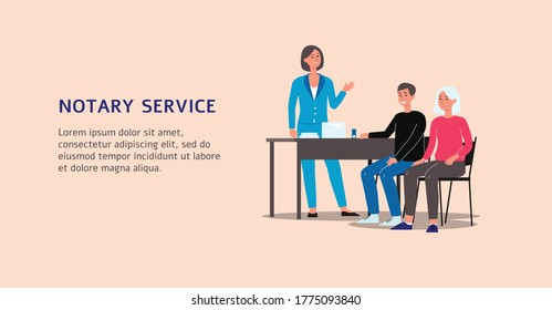 Vector flat illustration of the notary service banner. A female lawyer works with clients. Advertising of professional law and legal aid.