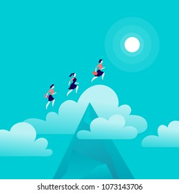 Vector flat illustration with office & business ladies jumping above mountain peak on blue sky with isolated cloud. Motivation, moving upward, aspiration, new aim & perspective, achievement - metaphor