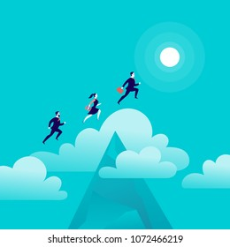 Vector flat illustration with office people jumping above mountain peak on blue sky with isolated clouds. Motivation, moving upwards, aspirations, new aims and perspectives, achievements - metaphor.