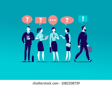 Vector flat illustration with office people standing together searching answers. Businessman walking towards aim. Inspiration, trust yourself, motivation, leadership, new goal - metaphor.