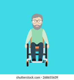 Vector Flat Illustration of an Old Man on a Wheelchair.