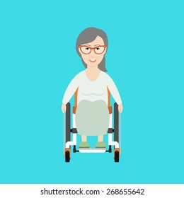Vector Flat Illustration of an Old Woman on a Wheelchair.