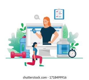 Vector flat illustration of online fitness. Cartoon active woman character training and coaching for sport activity. Concept of fitness web blog workout