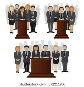 vector flat illustration of a party candidate or leader and electorate crowd