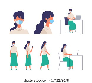Vector flat illustration of people wearing a surgical mask. The illustration for the topic of coronavirus, flu and cold. Vector illustration in flat style.