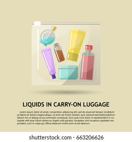 Vector flat illustration of the permissible packaging of liquid in carry-on luggage in airport. Transparent plastic bag with colored bottles inside.