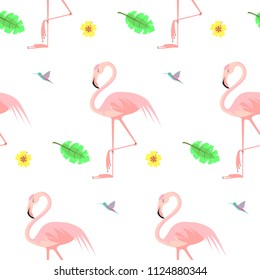 Vector flat illustration with  pink flamigo. Seamless pattern on white background.