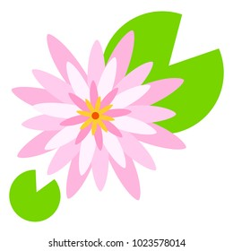 Vector flat illustration of pink water lily. Isolated on white background. Element for design. Lotus.
