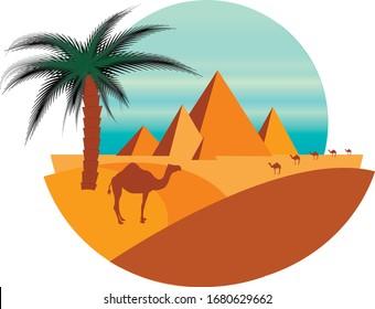 Vector flat illustration of pyramids and oasis in Arabian desert with camels. Camel flock next to Egyptian pyramids. Oasis with camels and palm tree. Camel caravan. Symbol of Egypt.