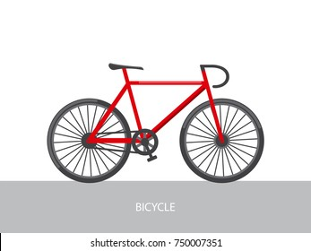 Vector flat illustration of red bicycle