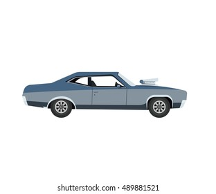 Vector Flat Illustration of a Retro Muscle Car