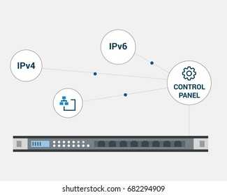 Vector Flat Illustration of Server with Network Management Icons