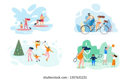 Vector Flat Illustration. Set Family Recreation Site Active Different Seasons. Summer Weekend River Whole Family in Canoeing. Winter Driving Ice Active Sports Bambinton Dad and Daughter Playing Ball