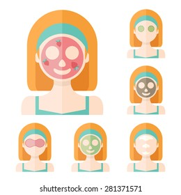 Vector flat illustration: Set on six attractive european ginger models with different spa beauty treatments in green clothes