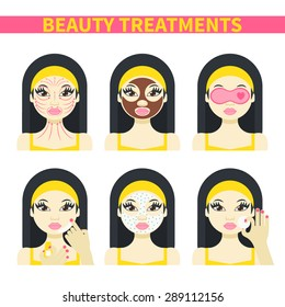 Vector flat illustration: Set on six attractive asian models with different spa beauty treatments in yellow clothes