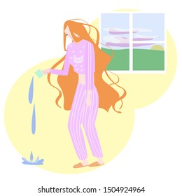 Vector flat illustration of a sleepy, tired woman in a nightgown, on the background of the window.