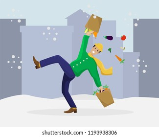 Vector flat illustration with a slipped man with shopping on ice. Winter season.