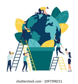 Vector flat illustration, small people prepare for the day of the environment, save the planet, save energy, the concept of the Earth day